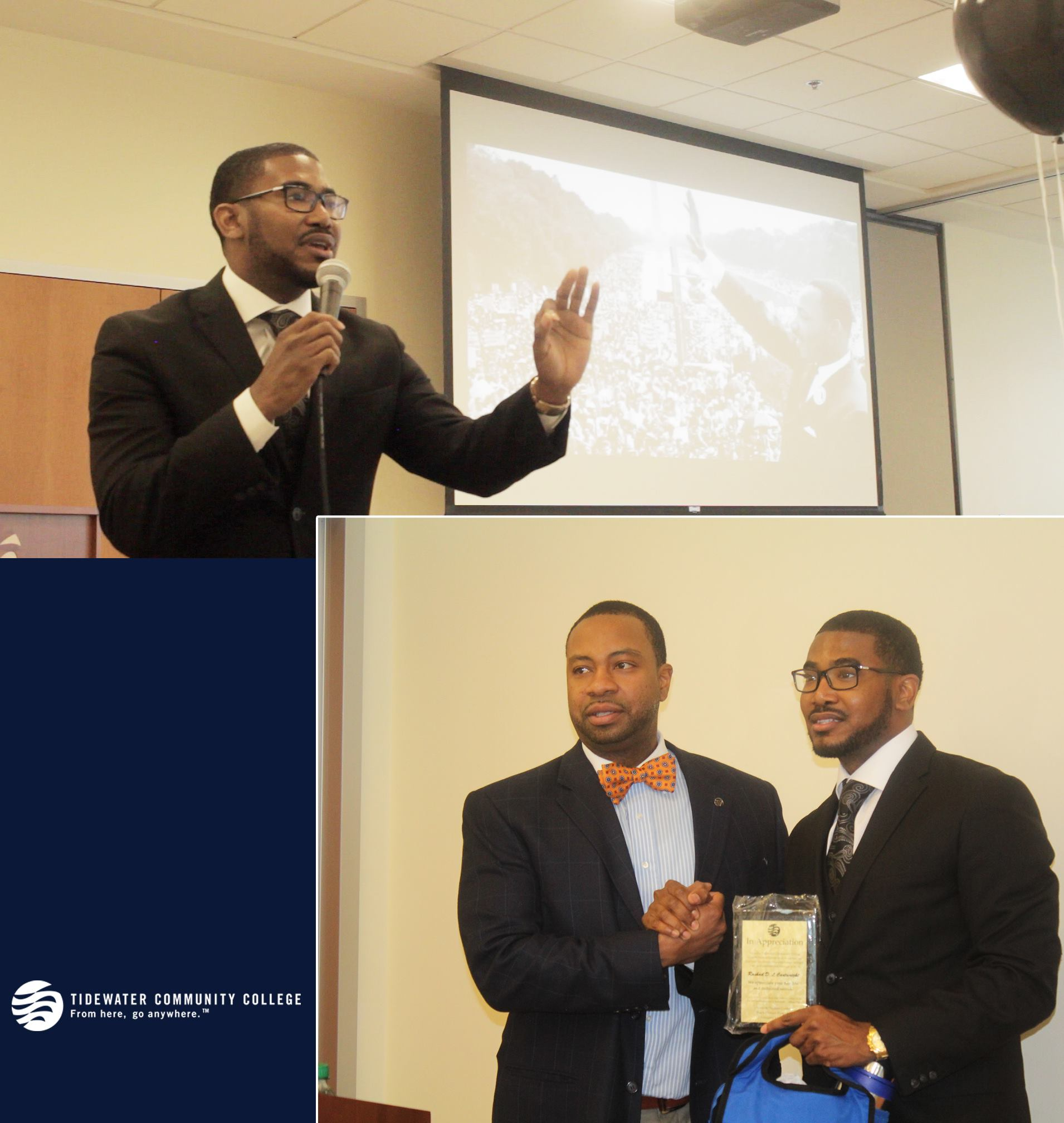 Rashad Cartwright speaking at Tidewater Community College for Black History Month